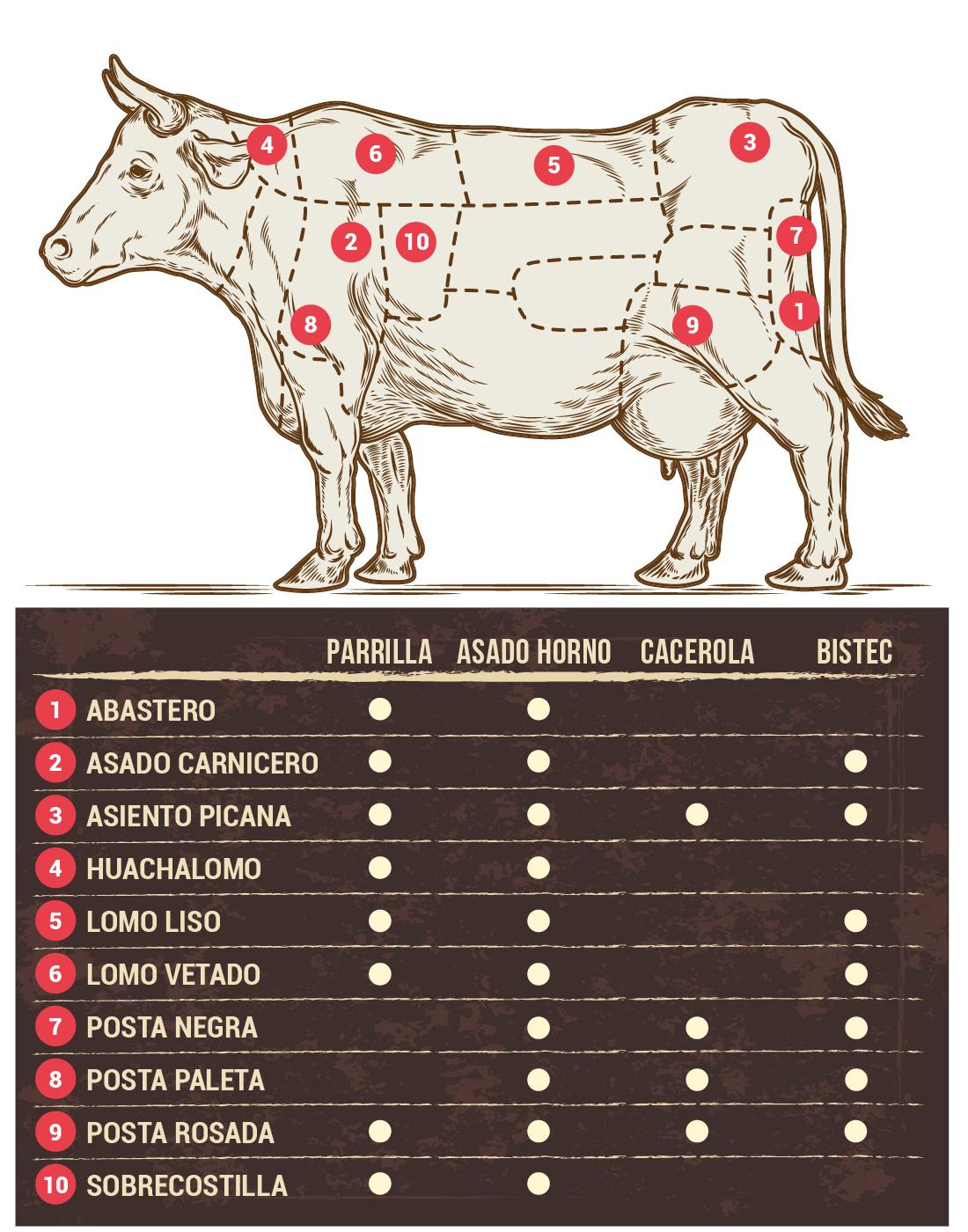 6de7ea5d8e Después de este dato parrillero les dejamos una infografía con los  principales cortes para que aprendamos un poco más de la carne de vacuno